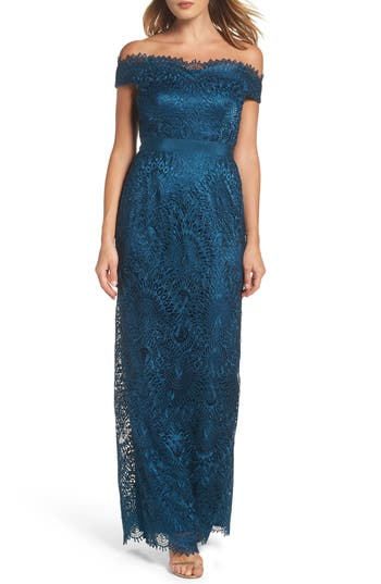 Adrianna Papell Venice Off The Shoulder Lace Gown, Blue