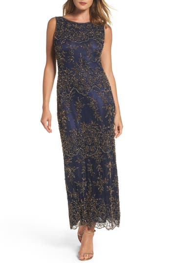 Pisarro Nights Embellished Mesh Gown, Blue