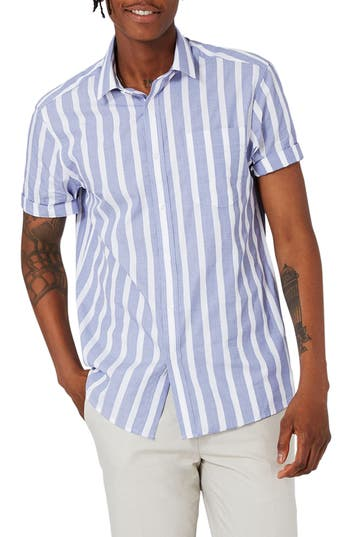 Topman Slim Fit Stripe Sport Shirt, Blue