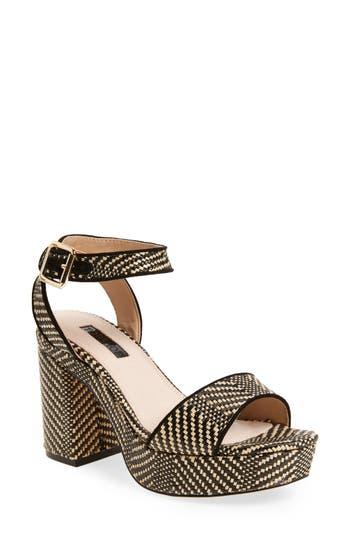 Women's Topshop Love Woven Platform Sandal, Size 5.5US / 36EU - Black