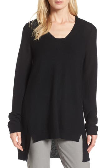 Eileen Fisher High/low Merino Wool Sweater, Black