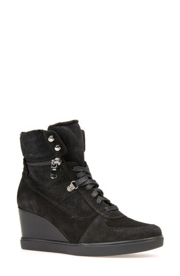 Geox Eleni Wedge Sneaker, Black