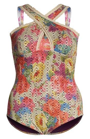 Plus Size Becca Etc. English Garden One-Piece Swimsuit, Beige