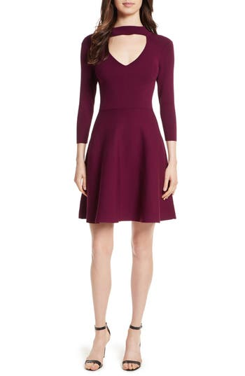 Milly Choker Collar Fit & Flare Stretch Knit Dress, Burgundy