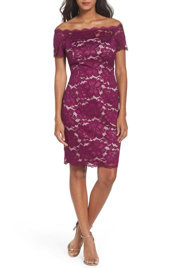 afc4a15e ADRIANNA PAPELL Off The Shoulder Lace Sheath Dress, Wild Berry/ Blush