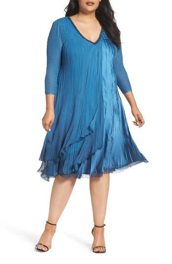 Plus Size Komarov Chiffon Layer Charmeuse Dress, Blue