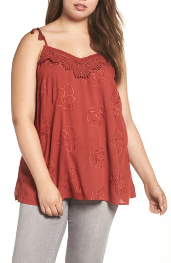 Plus Size Women's Daniel Rainn Crochet Tank, Size 0X - Red