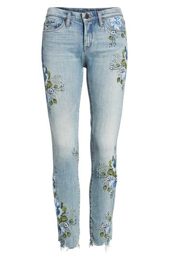 Blanknyc Floral Embroidered Skinny Jeans, Blue