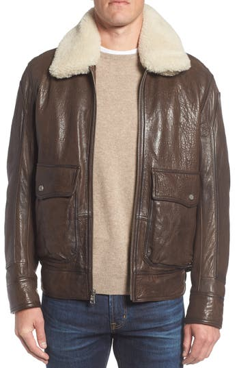 Men's Andrew Marc 3614 Leather Jacket With Genuine Lamb Shearling Collar