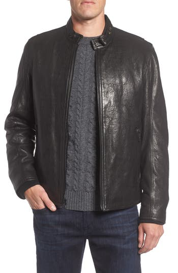 Men's Andrew Marc Cafe Racer Slim Leather Jacket With Faux Shearling Lining, Size Small - Black