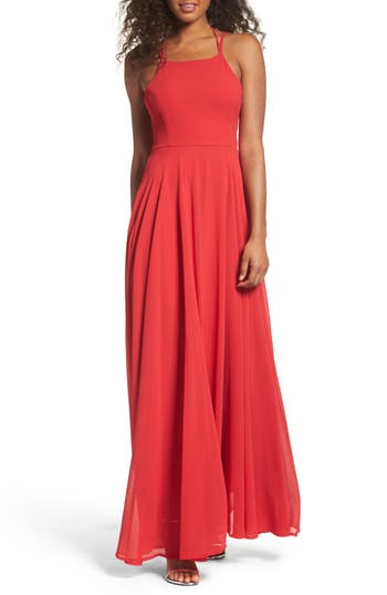 Lulus Strappy To Be Here Lace-Up Back Gown, Red