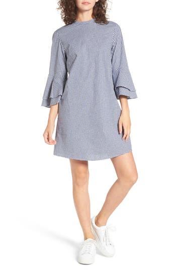 Everly Flare Sleeve Gingham Dress, Blue
