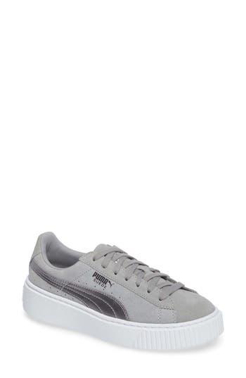 Puma Basket Platform Sneaker- Grey