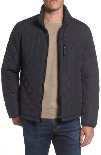 Men's Marc New York Faux Shearling Lined Quilted Jacket, Size Small - Black