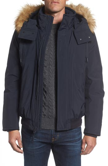 Marc New York Insulated Bomber Jacket With Faux Fur Trim, Blue