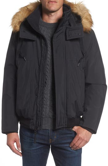Marc New York Insulated Bomber Jacket With Faux Fur Trim, Black