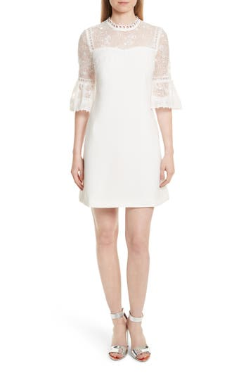 Ted Baker London Raechal Lace Sleeve A-Line Dress, Ivory