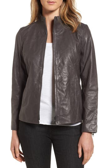 Women's Eileen Fisher Rumpled Luxe Leather Stand Collar Jacket