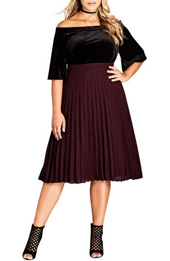 Plus Size City Chic Sheer Pleat Skirt, Red