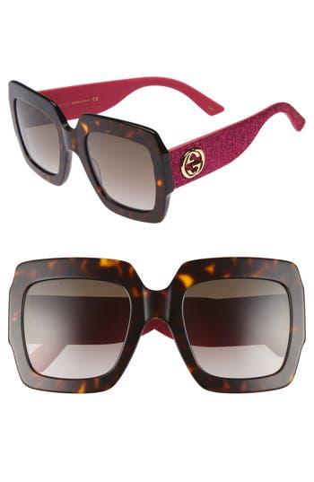 Women's Gucci 54Mm Square Sunglasses - Havana/ Brown