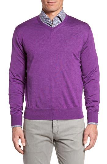 Peter Millar Merino Wool & Silk V-Neck Sweater, Purple