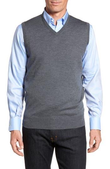 Peter Millar Crown Merino Blend Knit Vest, Grey