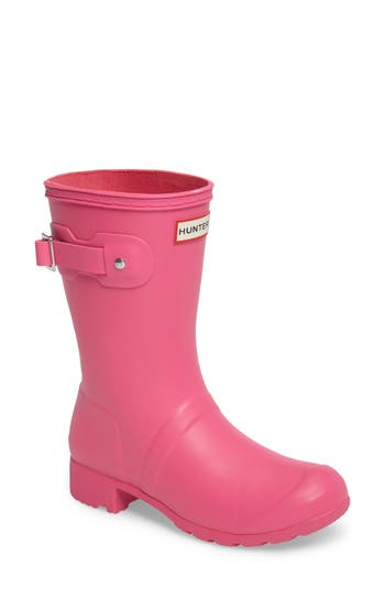 Women's Hunter Original Tour Short Packable Rain Boot, Size 5 M - Pink