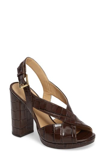 Michael Michael Kors Becky Cross Strap Sandal- Brown