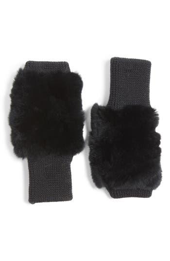 Jocelyn Genuine Rabbit Fur Fingerless Knit Mittens, Size One Size - Black