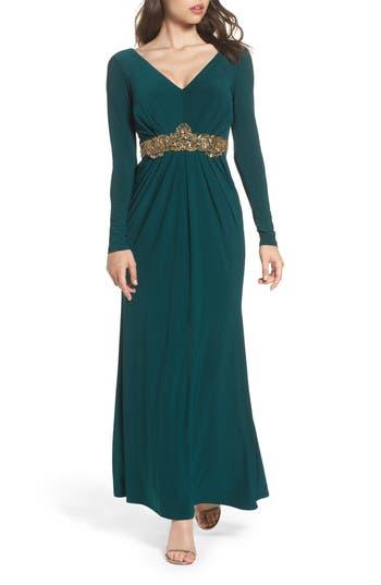Eliza J Embellished Jersey Gown, Green