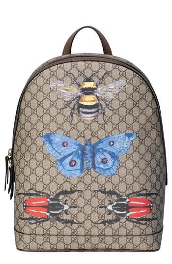 Gucci Insect Print Gg Supreme Canvas Backpack - White at NORDSTROM.com