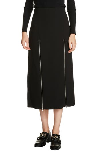 Women's Maje Zip Detail Midi Skirt