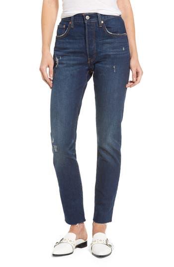 Levis 501 Raw Hem Skinny Jeans, Blue
