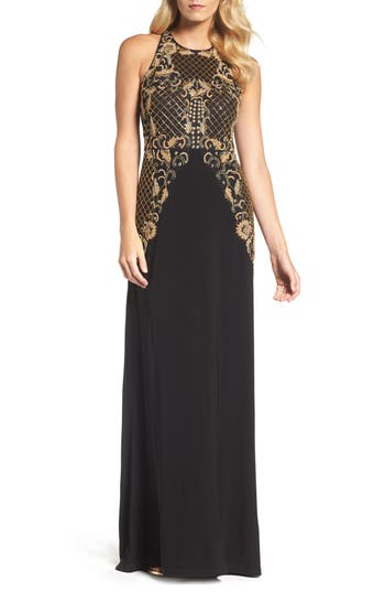 Adrianna Papell Beaded Gown, Black