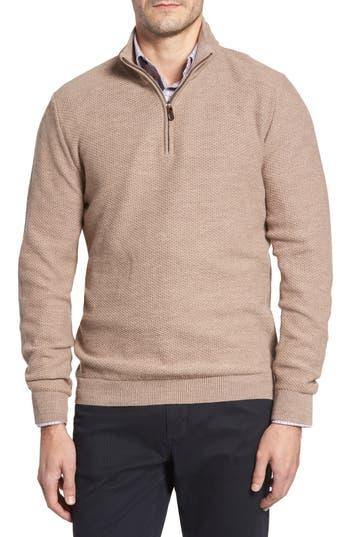 David Donahue Honeycomb Merino Wool Quarter Zip Pullover, Brown
