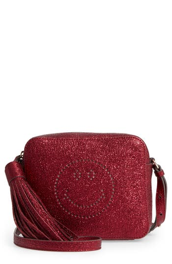 Anya Hindmarch Smiley Metallic Leather Crossbody Bag - Red