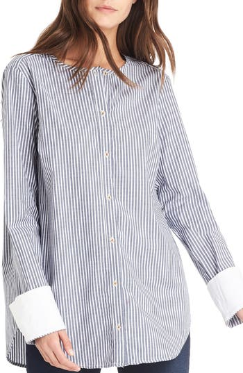 Michael Stars Contrast Cuff Shirt, Blue