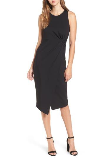 Leith Knot Front Sheath Dress, Black