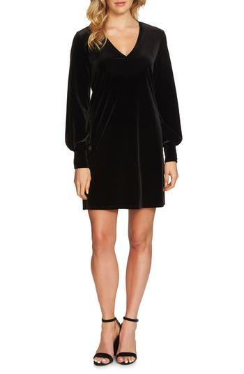 1.state Blouson Sleeve Velvet Shift Dress, Black