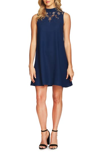 Cece Ava Embroidered Shift Dress, Blue