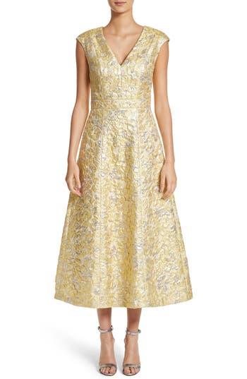 St. John Collection Metallic Floral Jacquard Dress, Yellow