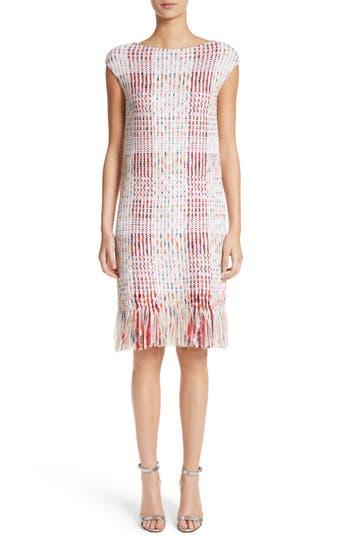 St. John Collection Ribbon Macro Plaid Knit Dress, Pink