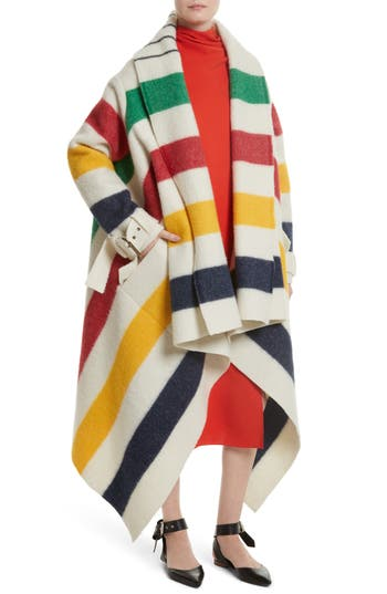 Women's Monse Hudson's Bay Blanket Coat, Size One Size - Ivory