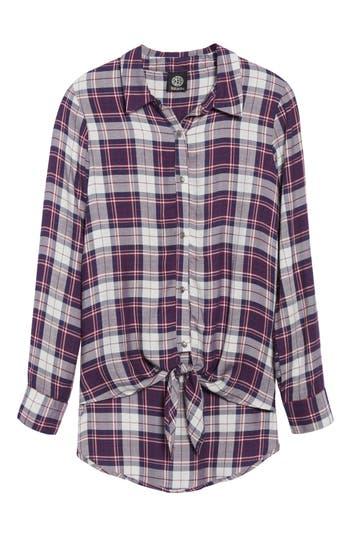Women's Bobeau Tie Front Plaid Shirt
