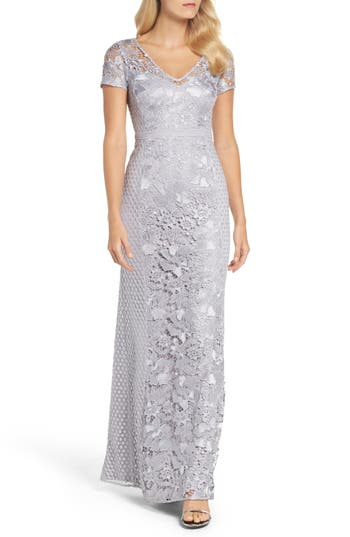 Adrianna Papell Guipure Lace Mermaid Gown, Metallic