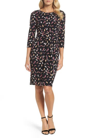 Adrianna Papell Print Stretch Sheath Dress, Black