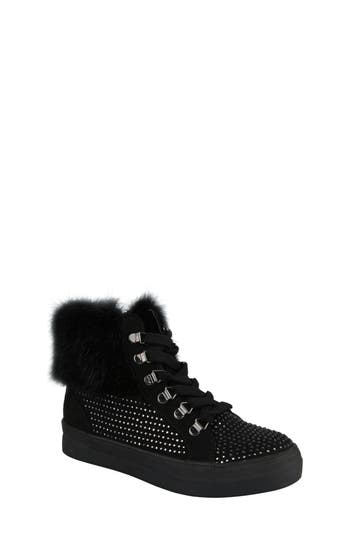 Girls Nina Randi Studded Faux Fur High Top