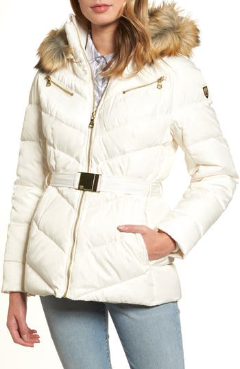 Vince Camuto Belted Down & Feather Fill Coat With Faux Fur Trim Hood, Grey