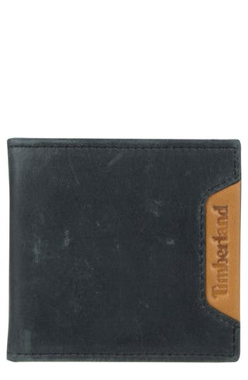 Men's Timberland Cloudy Leather Wallet - Black
