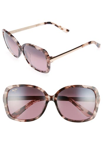 Maui Jim Melika 5m Polarized Square Sunglasses - Pink Tortoise Rose Gold